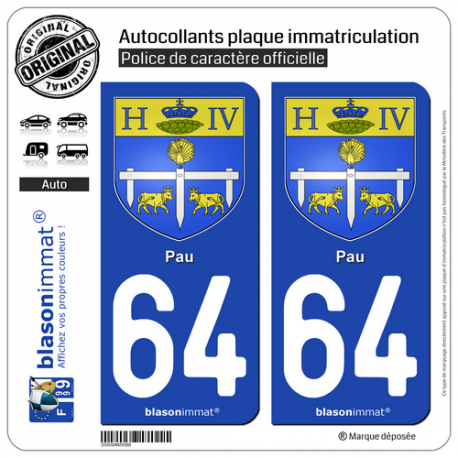 2 Autocollants plaque immatriculation Auto 64 Pau - Armoiries