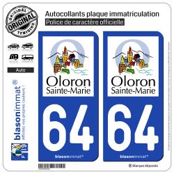 2 Autocollants plaque immatriculation Auto 64 Oloron-Sainte-Marie - Ville