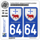 2 Autocollants plaque immatriculation Auto 64 Oloron-Sainte-Marie - Armoiries