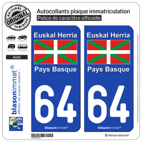 2 Autocollants plaque immatriculation Auto 64 Pays Basque - Drapeau
