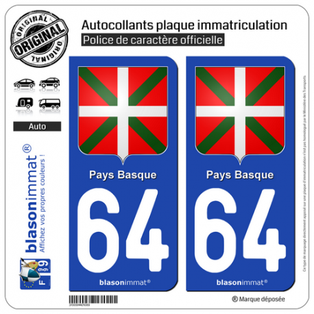2 Autocollants plaque immatriculation Auto 64 Pays Basque - Écusson