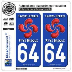 2 Autocollants plaque immatriculation Auto 64 Pays Basque - Lauburu