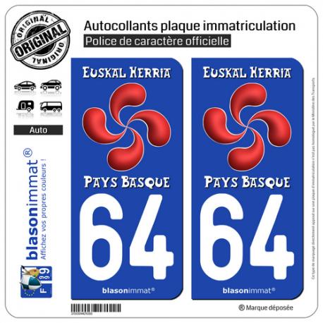 2 Autocollants plaque immatriculation Auto 64 Pays Basque - Lauburu