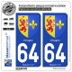 2 Autocollants plaque immatriculation Auto 64 Urrugne - Armoiries