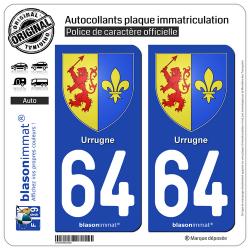 2 Autocollants plaque immatriculation Auto 64 Urrugne - Armoiries