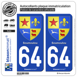 2 Autocollants plaque immatriculation Auto 64 Soumoulou - Armoiries