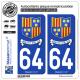 2 Autocollants plaque immatriculation Auto 64 St-Pée-sur-Nivelle - Commune
