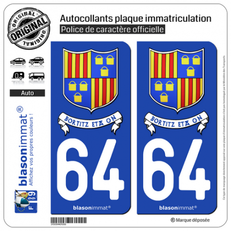 2 Autocollants plaque immatriculation Auto 64 St-Pée-sur-Nivelle - Commune