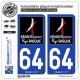 2 Autocollants plaque immatriculation Auto 64 Pyrénées-Atlantiques - Tourisme