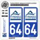 2 Autocollants plaque immatriculation Auto 64 Pyrénées-Atlantiques - Département