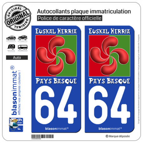 2 Autocollants plaque immatriculation Auto 64 Pays Basque - Lauburu II