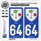 2 Autocollants plaque immatriculation Auto 64 Lons - Armoiries