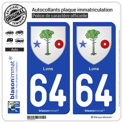 2 Autocollants plaque immatriculation Auto 64 Lons - Armoiries