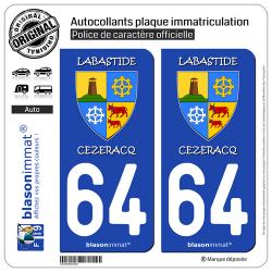 2 Autocollants plaque immatriculation Auto 64 Labastide-Cézéracq - Commune