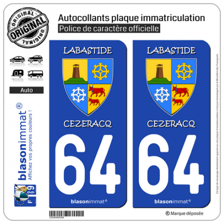 2 Autocollants plaque immatriculation Auto 64 Labastide-Cézéracq - Commune