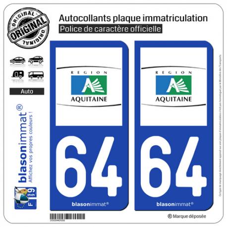 2 Autocollants plaque immatriculation Auto 64 Aquitaine - Tourisme