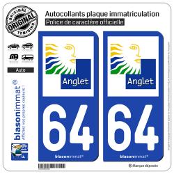 2 Autocollants plaque immatriculation Auto 64 Anglet - Ville