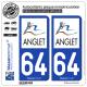 2 Autocollants plaque immatriculation Auto 64 Anglet - Agglo