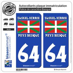 2 Autocollants plaque immatriculation Auto 64 Euskal Herria- Drapeau