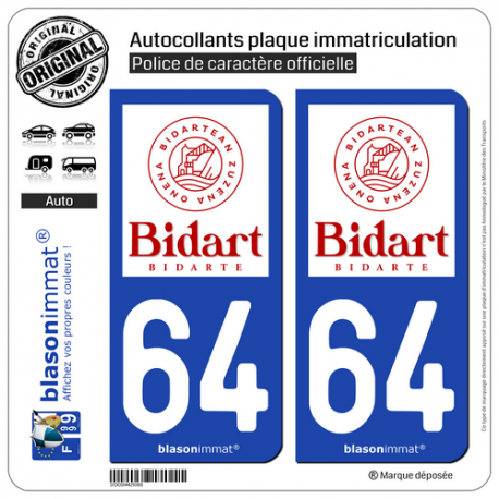 2 Autocollants plaque immatriculation Auto 64 Bidart - Commune