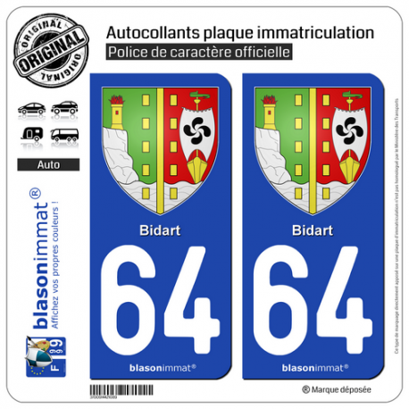 2 Autocollants plaque immatriculation Auto 64 Bidart - Armoiries