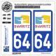 2 Autocollants plaque immatriculation Auto 64 Biarritz - Ville