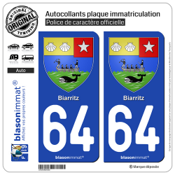 2 Autocollants plaque immatriculation Auto 64 Biarritz - Armoiries
