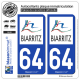 2 Autocollants plaque immatriculation Auto 64 Biarritz - Agglo