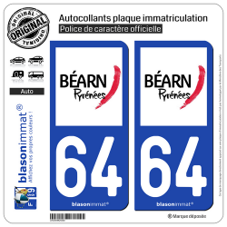 2 Autocollants plaque immatriculation Auto 64 Béarn - Tourisme