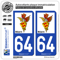 2 Autocollants plaque immatriculation Auto 64 Béarn - Armoiries II