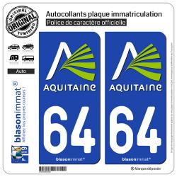 2 Autocollants plaque immatriculation Auto 64 Aquitaine - Nostalgie