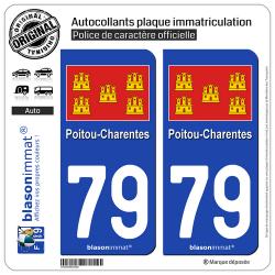 2 Autocollants plaque immatriculation Auto 79 Poitou-Charentes - Drapeau