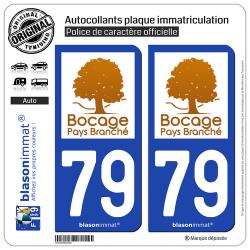 2 Autocollants plaque immatriculation Auto 79 Bressuire - Pays
