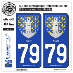 2 Autocollants plaque immatriculation Auto 79 Niort - Armoiries