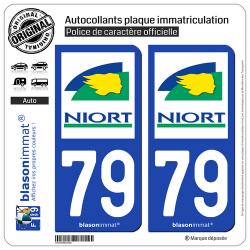2 Autocollants plaque immatriculation Auto 79 Niort - Ville