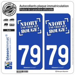 2 Autocollants plaque immatriculation Auto 79 Niort - Ville II