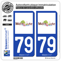2 Autocollants plaque immatriculation Auto 79 Ménigoute - Commune