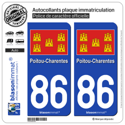 2 Autocollants plaque immatriculation Auto 86 Poitou-Charentes - Drapeau