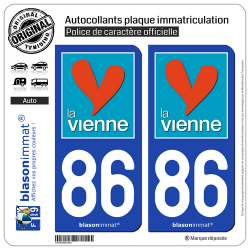 2 Autocollants plaque immatriculation Auto 86 Vienne - Département