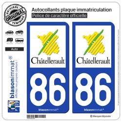 2 Autocollants plaque immatriculation Auto 86 Châtellerault - Ville
