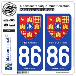 2 Autocollants plaque immatriculation Auto 86 Poitou-Charentes - Armoiries II