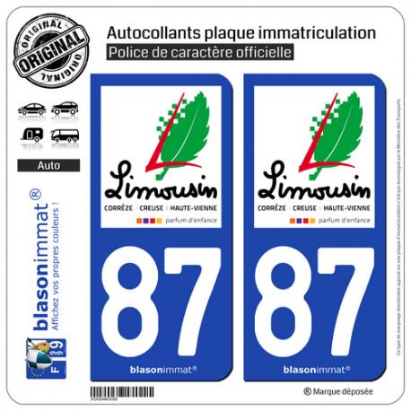 2 Autocollants plaque immatriculation Auto 87 Limousin - Tourisme