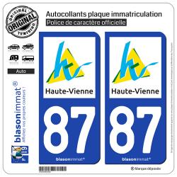 2 Autocollants plaque immatriculation Auto 87 Haute-Vienne - Département
