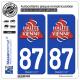 2 Autocollants plaque immatriculation Auto 87 Haute-Vienne - Tourisme