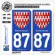 2 Autocollants plaque immatriculation Auto 87 Rochechouart - Armoiries