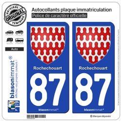 2 Autocollants plaque immatriculation Auto 87 Rochechouart - Armoiries