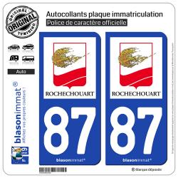 2 Autocollants plaque immatriculation Auto 87 Rochechouart - Ville