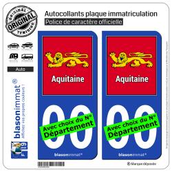 2 Autocollants plaque immatriculation Auto Aquitaine - Cadre