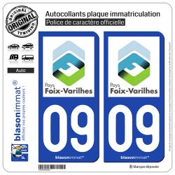 2 Autocollants plaque immatriculation Auto 09 Foix - Agglo