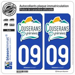 2 Autocollants plaque immatriculation Auto 09 Saint-Girons - Agglo